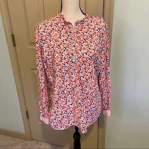 Talbots floral blouse coral and pink size L